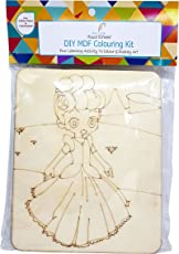Visual Echoes DIY Doll Design Colouring Kit Little Art Gallery - MDF Board with Drawing Outline, Essel, Water Color, and Paint Brushes.
