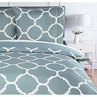 Amazon Basics Parure de lit avec housse de couette en microfibre, 140 x 200 cm, Bleu (Dusty Blue Trellis)