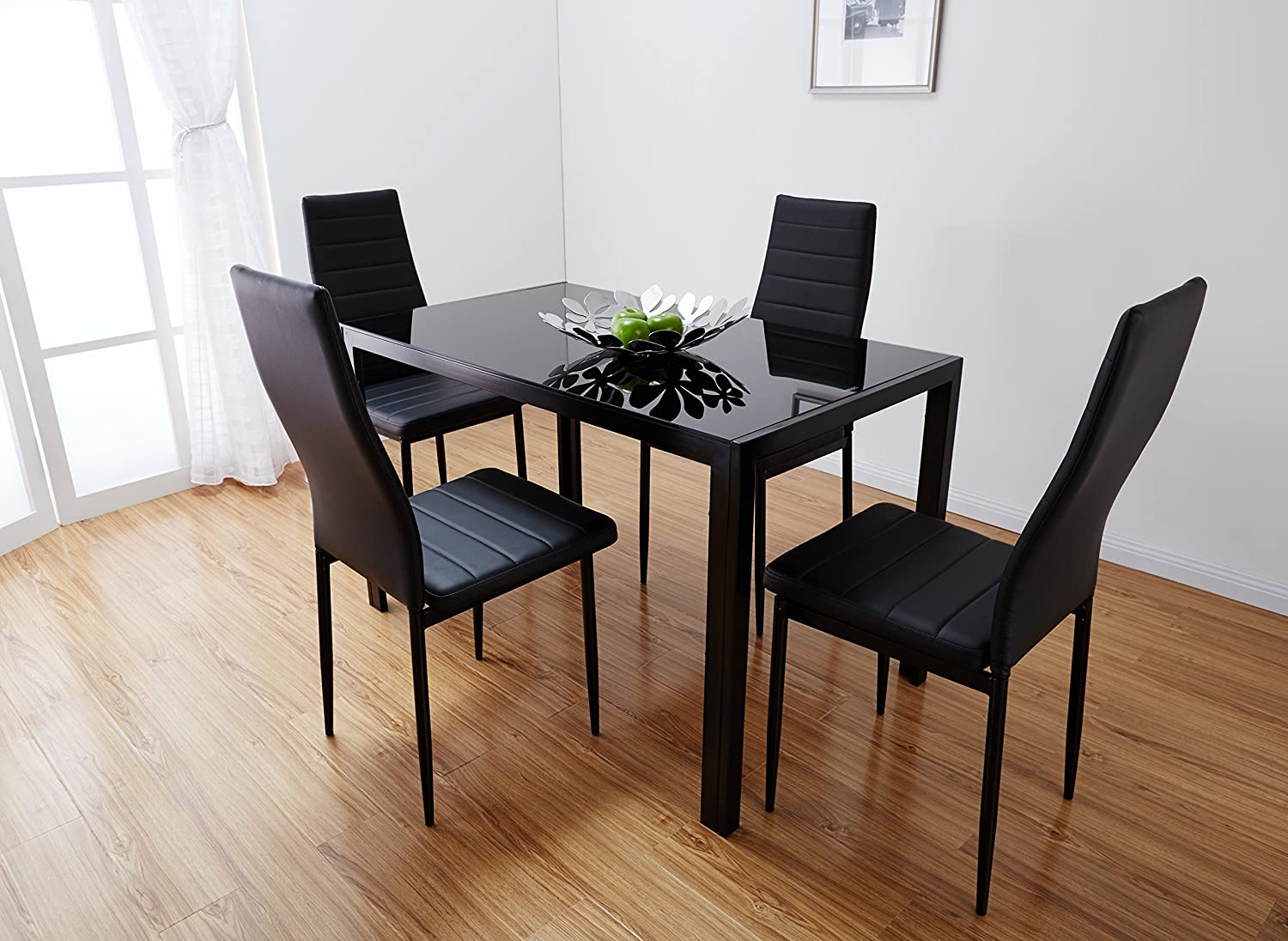 Glass Kitchen Table Sets Black Glass Dining Table Set With 4 Faux Leather Chairs Brand New