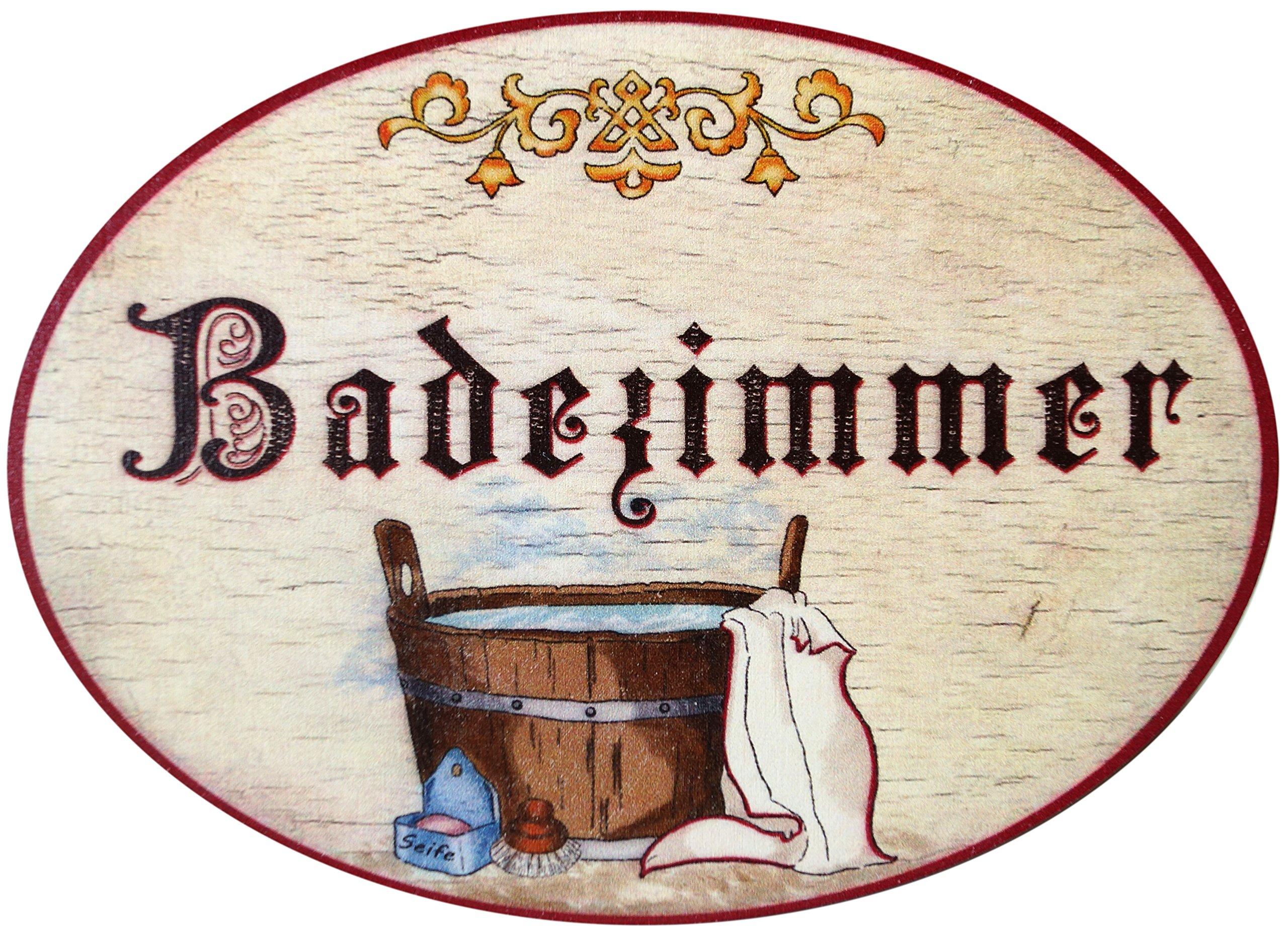 Kaltner Präsente Geschenkidee - Holz Türschild im Antik Design Motiv Bad BADEZIMMER (Ø 18 cm)