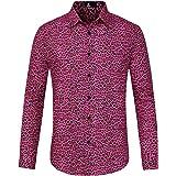 Lars Amadeus Men's Vintage Leopard Print Button Down Long Sleeve Cotton Casual Shirt