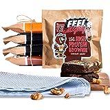 Feel Mighty High Protein Brownies- Pack of 5 High Fiber, Sugar-Free Brownies- 2 Dark Chocolate Fudge, 2 Chocolate Walnut…