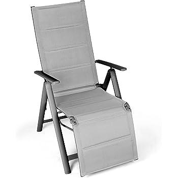 Nexos Alu Liegestuhl Klappstuhl mit Fu/ßst/ütze Sonnenliege Campingliege Gartenliege Relaxstuhl Rahmen anthrazit Bespannung cremefarben stabil