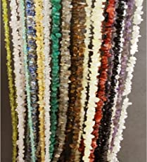 ESHOPPEE String Natural Stone Chips Cabochon Gemstone Loose Beads Strand Mala Necklace, 35-inch- Set of 14