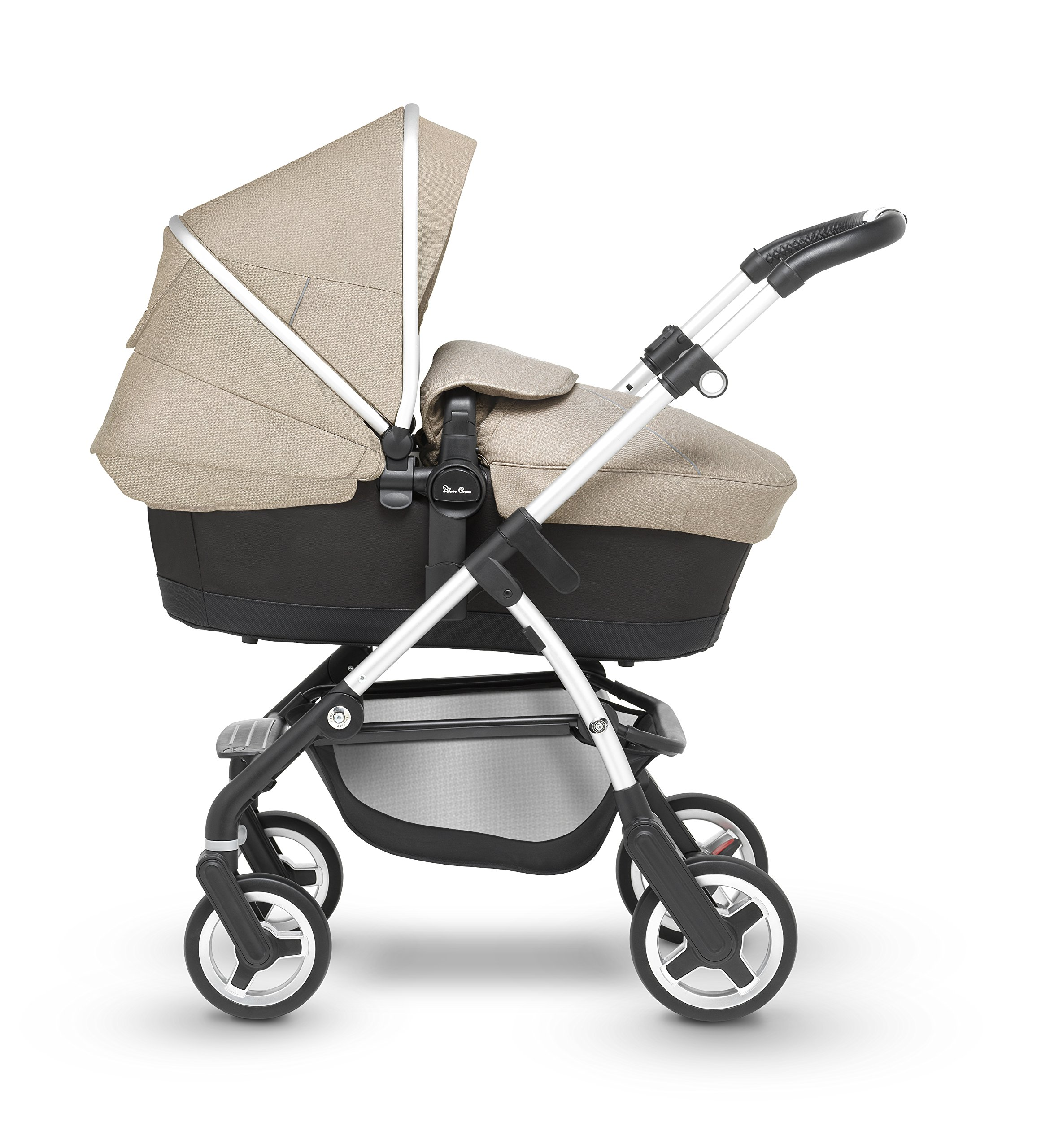 Silver Cross Wayfarer Pushchair and Carrycot, Linen Silver Cross A complete Pram system that includes everything you need from birth to toddler Includes a lie-flat Carrycot for your new born that is suitable for overnight sleeping Includes a fully, reversible Pushchair seat unit, suitable up to 25kg 2