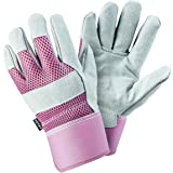 FZTEY Gardening Gauntlets Ladies , Reinforced Leather Heavy duty Thick Gloves For Men and Women Kids Festival Gift , Safety W
