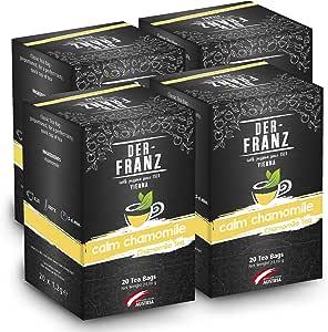 """Der Franz, Tè alla camomilla """"Calm Chamomile"""" in bustina classica, 4 confezioni (20 x 1,2 g)"""