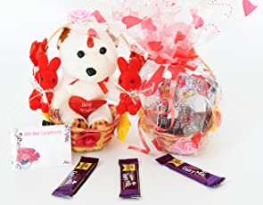 Holy Krishna's Dairy Milk Small Chocalate (Pack Of 8) in A Basket With 3 Soft Toy In Beautiful Flower Basket With Message Card + LAXMI ATM CARD