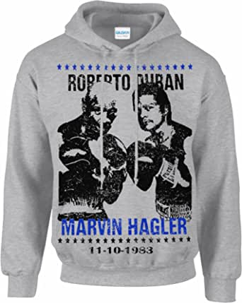 Free p&p Boxing Hoodie,Training Marvin hagler vs Roberto Duran Sports Vintage Aged Look