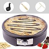 Duronic PM152 Crêpière électrique de 1500W | Plaque de cuisson antiadhésive et démontable de 37 cm | Accessoires inclus | Tem