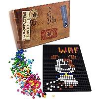 La Manufacture du Pixel - Pack 1 Grille et 1000 Pixels à insérer (Noir) - Pixel Art, Loisir Créatif, Mosaïque, Fun…