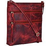 Amazon Brand - Eono Umhängetaschen für Damen - Verstellbare Umhängetasche und Reisetasche aus echtem Leder (Red Crazy Horse)