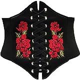 Elastico Cinched ampia cintura corsetto rosso, nero & bianco