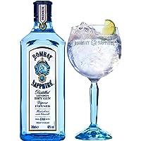 Bombay Sapphire London Dry Gin, Infuso con 10 Botaniche, Gift Pack con Bicchiere Balloon Bombay Omaggio, 70 cl