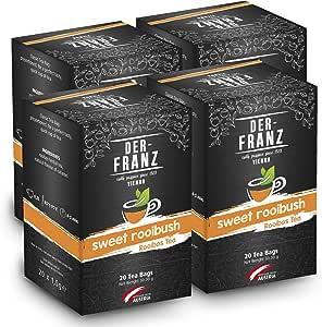 """Der Franz, Tè rooibos """"Sweet Rooibos"""" aromatizzato naturalmente in bustina classica, 4 confezioni (20 x 1,5 g)"""