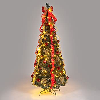 6ft Pre Decorated Pop Up Christmas Tree With Warm White Leds Amazon