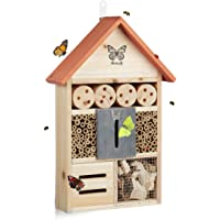 Relaxdays Insektenhotel Butterfly, Nistkasten für Bienen, Schmetterling, für Garten, HxBxT: 41,5 x 27,5 x 8,5 cm, orange