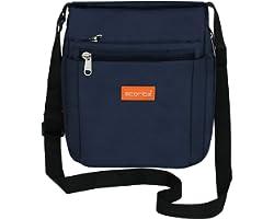 Storite Stylish Nylon Sling Cross Body Travel Office Business Messenger Bag for Men Women (21 x 6.5 x 23 cm, Navy Blue)