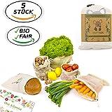Happy Koa 5er Set Bio Wiederverwendbare Einkaufsnetze für Obst & Gemüse Baumwolle | Obstbeutel Gemüsebeutel inkl. Geschenk (Baumwolle, 5 Stück)