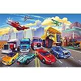 GREAT ART® XXL Affiche Chambre d'enfant – Courses de voitures – Décoration murale avions avions pompiers voitures de sport vo