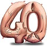 envami Palloncini Compleanno 40 Anni Oro Rosa 101 CM I Palloncino Numero 40 I Numeri Gonfiabili Compleanno I Decorazioni Comp