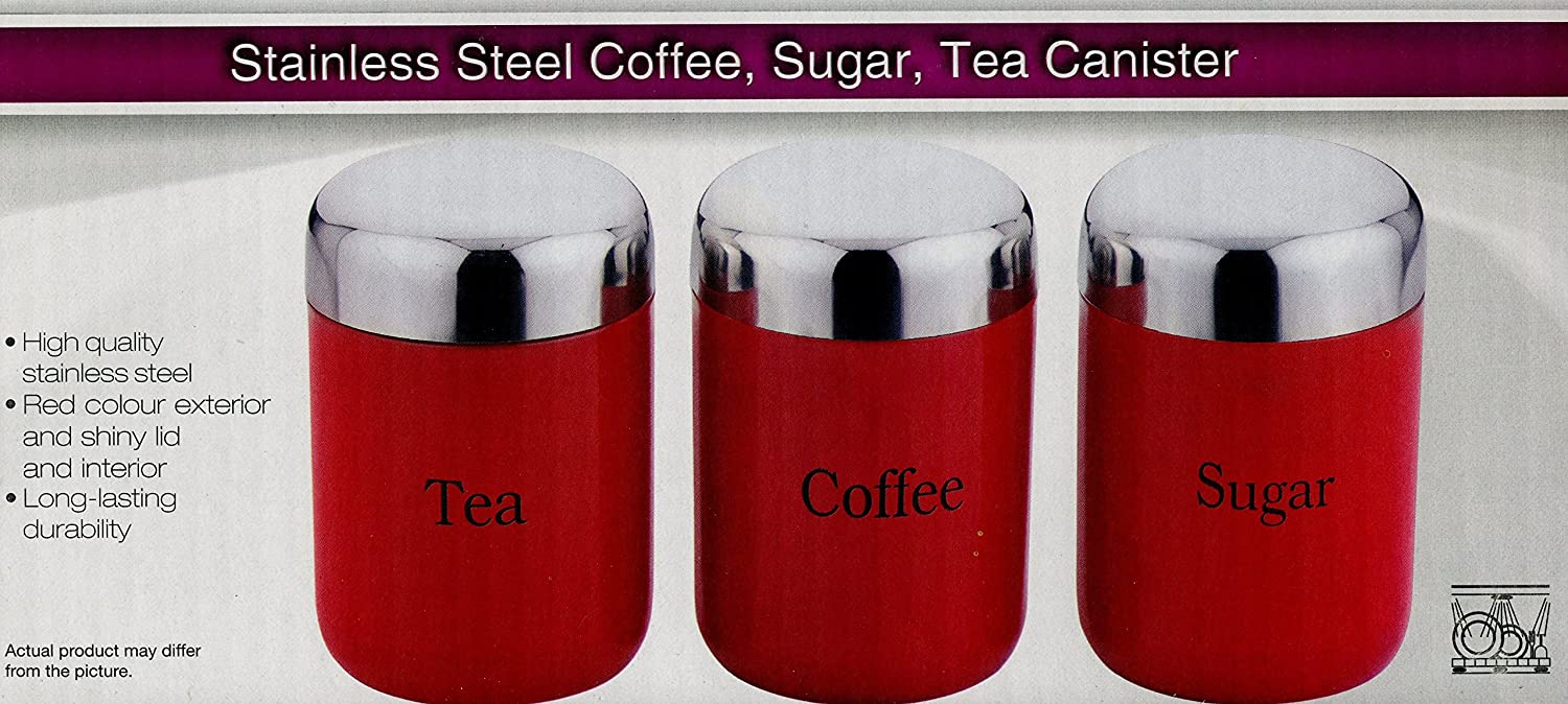 tea coffee sugar box jars caddy canister red black cream or silver tea coffee sugar box jars caddy canister red black cream or silver with shiny lids good quality red by prima amazon co uk kitchen home