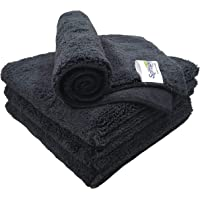 SOFTSPUN Microfiber High Loop Cleaning Cloths, 40x40 cms 4 pcs Towel Set 380 GSM (Black). Thick Lint & Streak-Free…