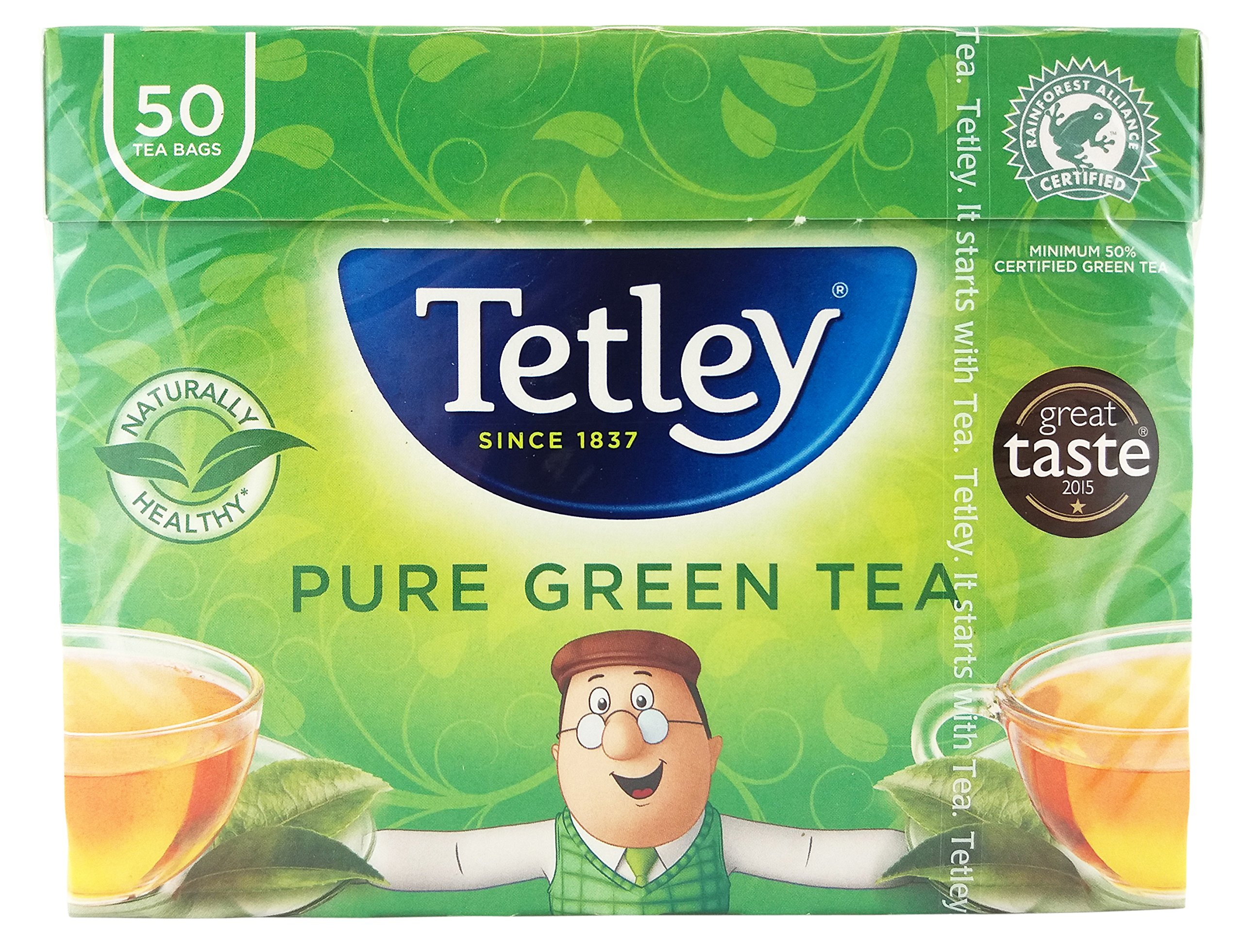 Tetley green tea (rainforest alliance) (green tea) (50 bags) (brews in 1-3 minutes)