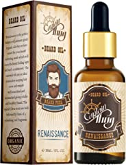 Captain Thug Beard Oil - Beard and Mustaches Growth for Men - (Spiced Citrus) Renaissance - 8 Coldpressed Premium Essential