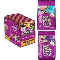 Whiskas Kitten Dry Cat Food, Mackerel Flavour, 1.1kg Pack & Kitten Wet Cat Food, Chicken in Gravy, 12 Pouches & Kitten…