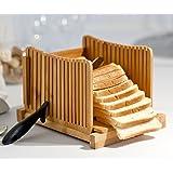 Kenley Trancheuse à Pain - Tranche-Pain en Bambou avec Guide de Decoupe - Slicer Pliable pour Sandwich, Gâteau au Pain ou Toast