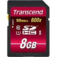 Transcend Ultimate-Speed SDHC Class 10 UHS-1 8GB Speicherkarte (bis 90MB/s Lesen)