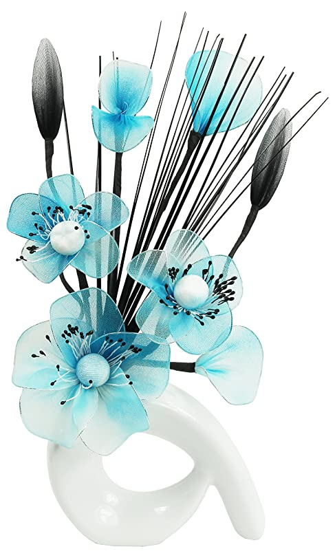 Flourish 793586 QH1 White Vase With Teal Blue Nylon Artificial Flowers In Fake