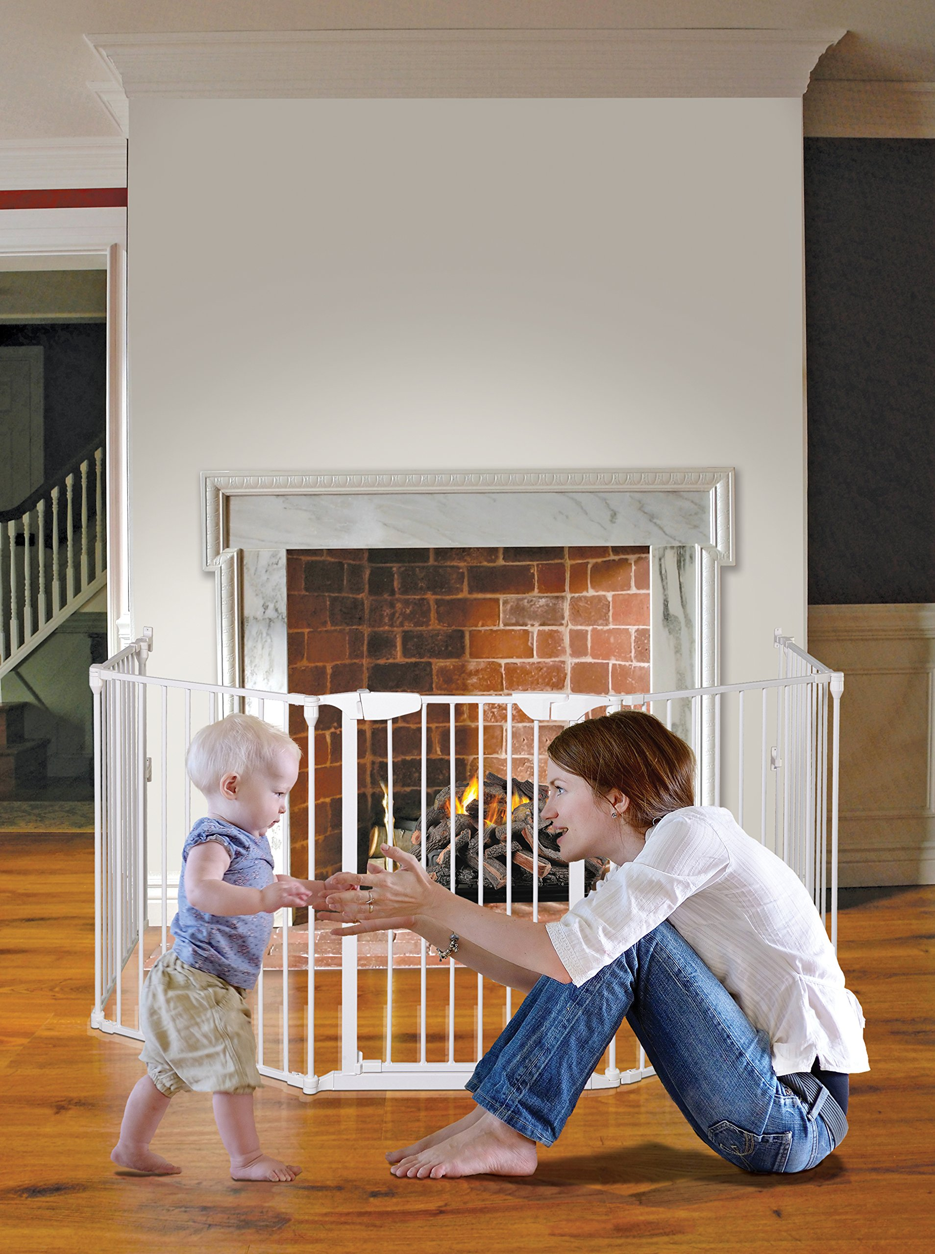 Dreambaby Mayfair Converta 3-in-1 Metal Play-Pen (85.5 - 375 cm) Dreambaby 6 modular panels including convient walk-through Gate 3-in-1 (play-pen, fireplace barrier, wide barrier Gate) Smart stey-open feature and optional one way stopper 5