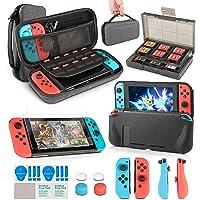 innoAura 11 in 1 Zubehör Set die Nintendo Switch , Tragetasche, Game Card Slot Halter, TPU Cover, Joy-Con Covers, Thumb…