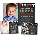 Birthday Thank You Photo Cards Notes Message Personalised Bespoke Custom Made Boy Girl Joint Party Twins Unisex 5 10 20…
