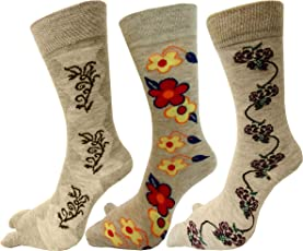 RC. ROYAL CLASS Women's Woolen Calf Length Floral Design Thumb Socks (Skin) - Pack of 3 Pairs