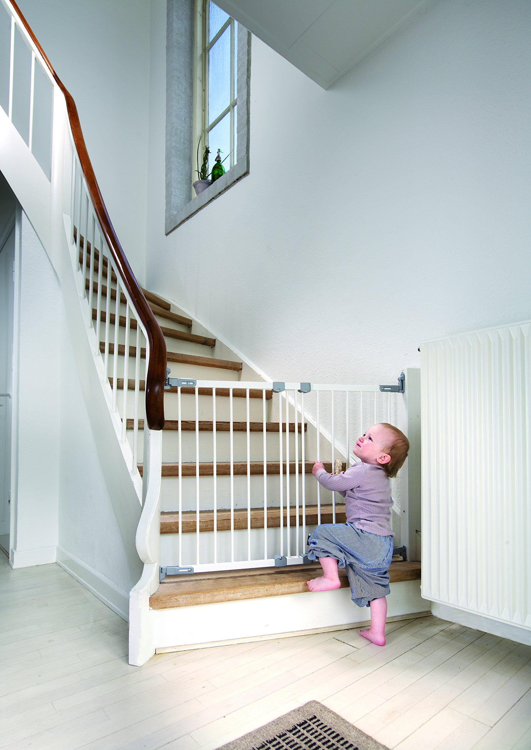 BabyDan Super Flexi Fit Extending Metal Safety Gate (White/Silver)