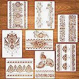 Stencil per bordi di fiori, 8 pezzi Stencil per mandala per dipingere su legno Carta da parati Mandala per pareti Riutilizzab