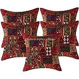Stylo Culture Décoratif Indien Coton Housses De Coussin 60x60 cm Bordeaux Indiennes Patchwork 24 x 24 Pouces Salon Lot De 5 A