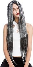 Wig me up - TH46-P103MP68 Perücke Damen Halloween Karneval sehr lang glatt Mittelscheitel Schwarz Grau Meliert