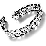 Urban Jewelry Fleur De Lis - Bracciale da uomo in acciaio inox, 21,5 cm, argento
