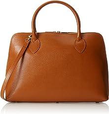 CTM Borsa da Donna a Mano, Borsa elegante con stampa saffiano, 38x28x10cm, Vera pelle 100% Made in Italy