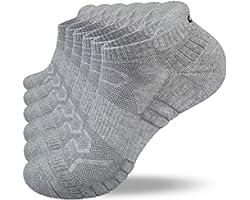 Anqier 6 Pairs Mens Running Socks, Cushioned Walking Socks Anti-Blister Trainer Socks for Men Women Ladies Cotton Ankle Low C