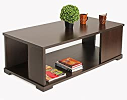 Bluewud Noel CT-NO-RTW Coffee Table with Shelves (Wenge)