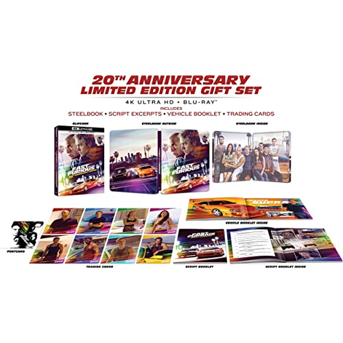 Fast and Furious 20th ANNIVERSARY STEELBOOK LIMITED EDITION GIFT SET - 4K + BLU-RAY