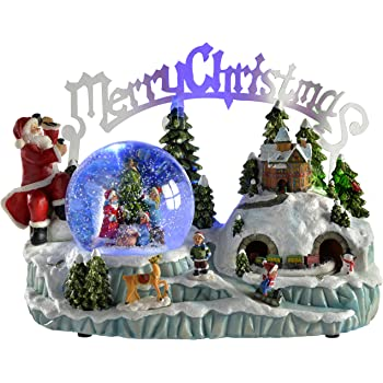 werchristmas pre lit scene musical animated snow globe with moving train christmas decoration 30