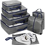 Set di 7 Organizer Viaggio, Cubi per Valigia, Faxsthy Organizzatore Packing Cubes per i Vestiti Scarpa Cosmetico (Noir+rouge)