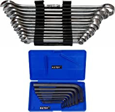 Ketsy 829, 12-Piece Combination Spanner (7mm, 8mm, 9mm, 10mm, 11mm, 12mm, 13mm, 14mm, 15mm,17mm, 19mm And 22 mm+ 9 Pcs.Allen Key Set) (Set Of 2)