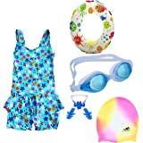 THE MORNING PLAY Premium Girls Swimming Kit with Swimming Costume Swimming Goggles Swim Ring Swimming Cap Ear Plug and Nose P